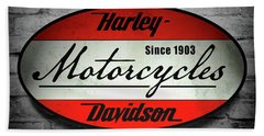 Harley Davidson Vintage Shop Sign  1903 Hand Towel