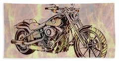 Bath Towel featuring the mixed media Harley Motorcycle On Flames by Dan Sproul