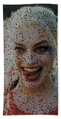 Hand Towel featuring the painting Harley Quinn Quotes Mosaic by Paul Van Scott