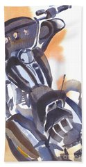 Hand Towel featuring the painting Motorcycle Iv by Kip DeVore