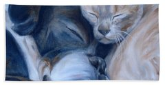 Bath Towel featuring the painting Harmony by Donna Tuten