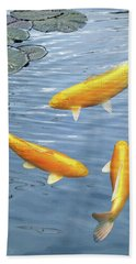 Bath Towel featuring the photograph Harmony - Golden Koi by Gill Billington