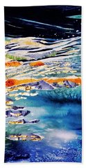 Bath Towel featuring the painting Harmony In Blue And Gold  by Trudi Doyle