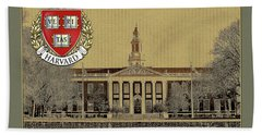 Harvard University Building Overlaid With 3d Coat Of Arms Bath Towel