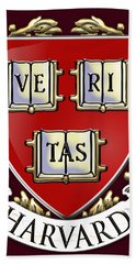 Harvard University Seal - Coat Of Arms Over Colours Hand Towel by Serge Averbukh
