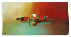 Bath Towel featuring the painting Hashtag Happy - Abstract Art by Carmen Guedez