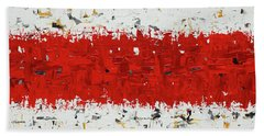 Bath Towel featuring the painting Hashtag Red - Abstract Art by Carmen Guedez