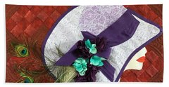 Hand Towel featuring the tapestry - textile Hat Trick by Jo Baner
