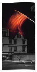 Bath Towel featuring the photograph Waving Flag In Easton by Mike McGlothlen
