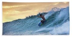Hawaii Bodysurfing Sunset Polihali Beach Kauai  Bath Towel