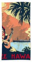 Hawaii, Hula Girl Welcomes Tourist Ship With Traditional Music Bath Towel