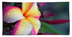 Hand Towel featuring the photograph Hawaii Plumeria Flower Jewels by Sharon Mau