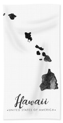 Hawaii State Map Art - Grunge Silhouette Bath Towel