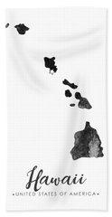 Hawaii State Map Art - Grunge Silhouette Bath Towel