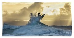 Hawaii Surfing Sunset Polihali Beach Kauai Hand Towel