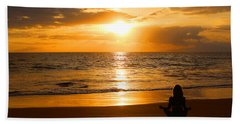 Hand Towel featuring the photograph Hawaiian Beach Yoga by Michael Rucker