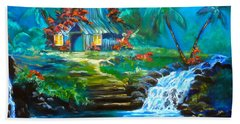 Hand Towel featuring the painting Hawaiian Hut And Waterfalls by Jenny Lee
