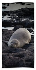 Hawaiian Monk Seal Hand Towel by Roger Mullenhour