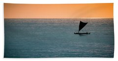 Hawaiian Outrigger Canoe Hand Towel by Mary Lee Dereske