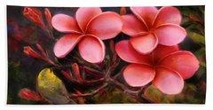 Hawaiian Pink Plumeria And Amakihi Bird Bath Towel
