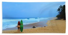 Hawaiian Surfer Girl Hand Towel by Michael Rucker