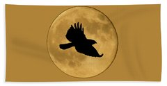 Hawk Flying By Full Moon Bath Towel
