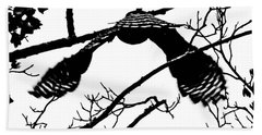 Hawk In Flight Black And White Bath Towel