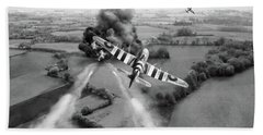 Bath Towel featuring the photograph Hawker Typhoon Rocket Attack Bw Version by Gary Eason