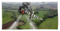 Bath Towel featuring the photograph Hawker Typhoon Rocket Attack by Gary Eason