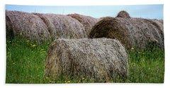 Hay Bales Among The Wildflowrs Hand Towel