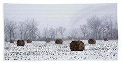 Hay Bales In The Snow Hand Towel