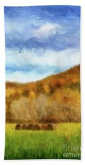 Hand Towel featuring the photograph Hay Bales by Lois Bryan