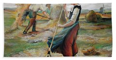 Hay Field Workers Bath Towel