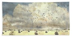 Hand Towel featuring the photograph Hay Rolls Near Broken Arrow Oklahoma by Janette Boyd