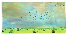 Hand Towel featuring the photograph Hay Rolls Near Broken Arrow Oklahoma Two by Janette Boyd