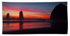Haystack Rock At Sunset 2 Bath Towel