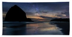 Haystack Rock Under Starry Night Sky Hand Towel
