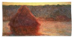 Haystacks At Sunset Hand Towel