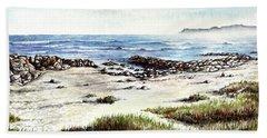 Bath Towel featuring the painting Hazy Coastline by Heidi Kriel