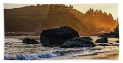 Hazy Golden Hour At Trinidad Harbor Bath Towel