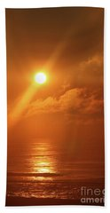 Hazy Orange Sunrise On The Jersey Shore Bath Towel