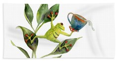 He Frog Hand Towel by Amy Kirkpatrick
