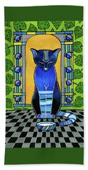 Hand Towel featuring the painting He Is Back - Blue Cat Art by Dora Hathazi Mendes