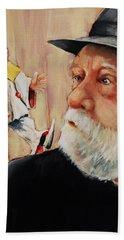 He Was Always Looking Over His Shoulder Hand Towel by Jean Cormier