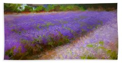 Impressionistic Lavender Field Landscape Plein Air Painting Hand Towel