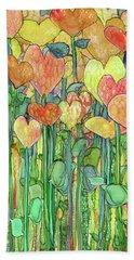 Bath Towel featuring the mixed media Heart Bloomies 1 - Golden by Carol Cavalaris