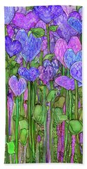 Bath Towel featuring the mixed media Heart Bloomies 1 - Purple by Carol Cavalaris