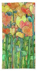 Bath Towel featuring the mixed media Heart Bloomies 2 - Golden by Carol Cavalaris