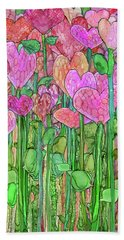 Hand Towel featuring the mixed media Heart Bloomies 2 - Pink And Red by Carol Cavalaris