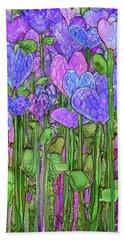 Bath Towel featuring the mixed media Heart Bloomies 2 - Purple by Carol Cavalaris